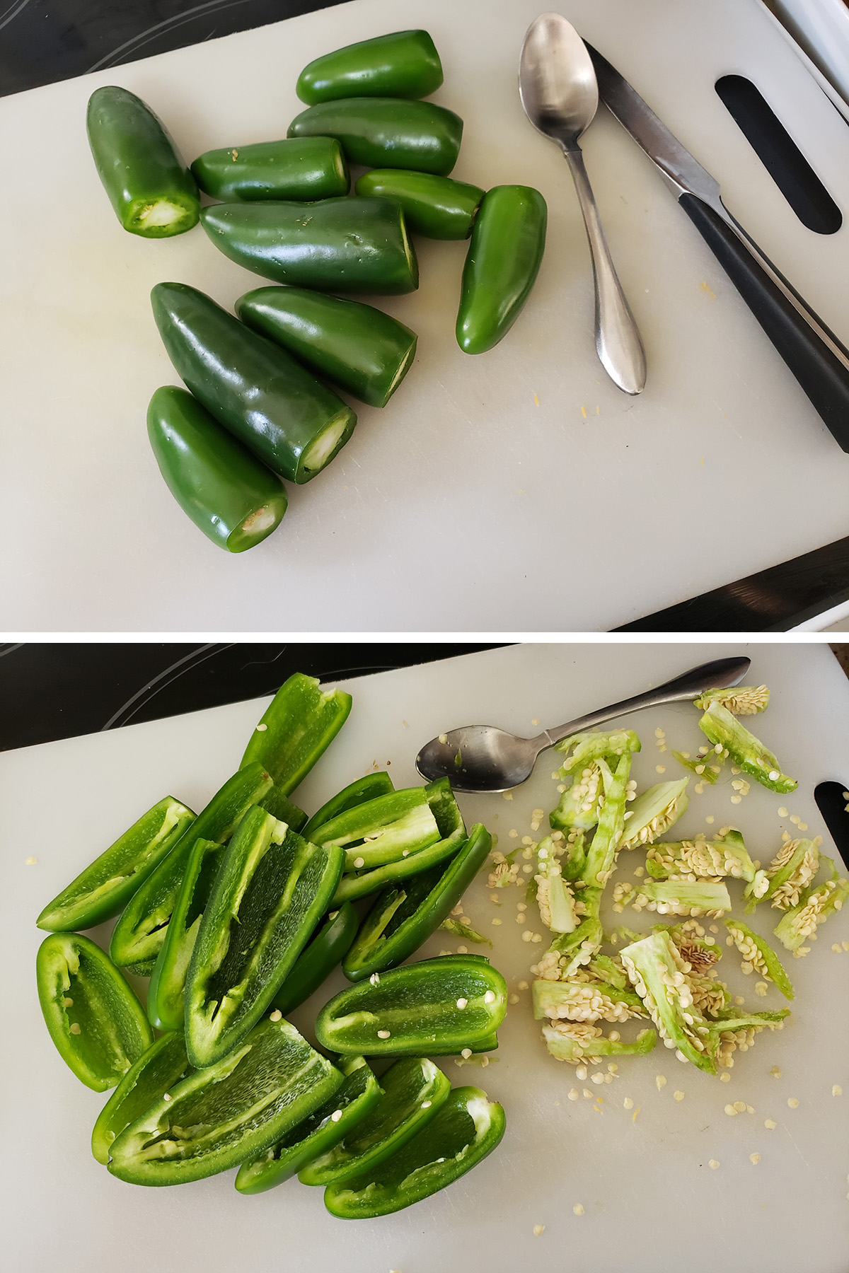 A two part compilation image showing jalapenos on a cutting board, before and after being cut in half and scooped out.