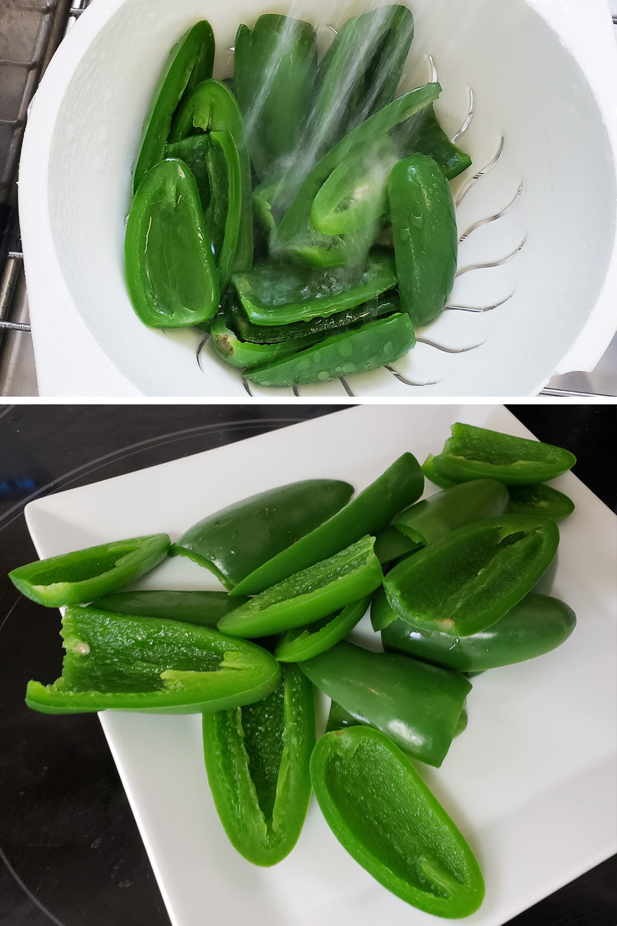 A two part compilation image showing halved jalapenos being rinsed off, and on a plate.