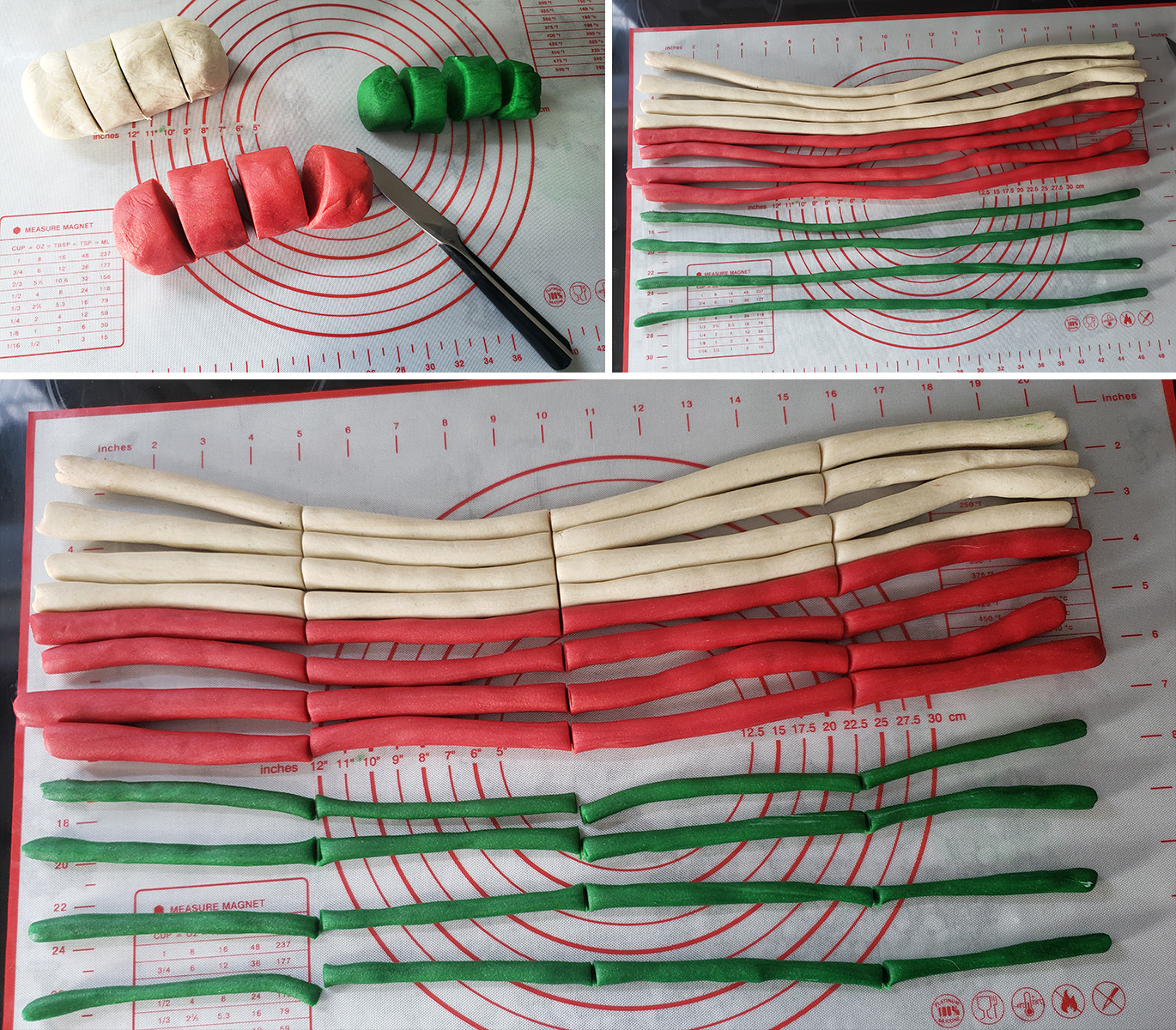 A 3 image collage showing the steps of dividing the dough out.