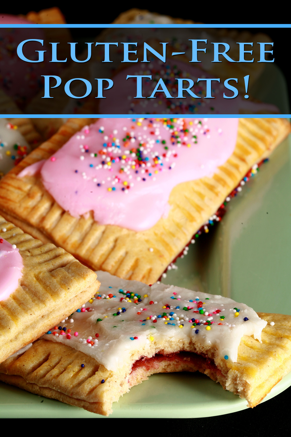 A plate of toaster pastries made from this gluten-free poptarts recipe. They are frosted with pink and white icing, and topped with coloured sprinkles.