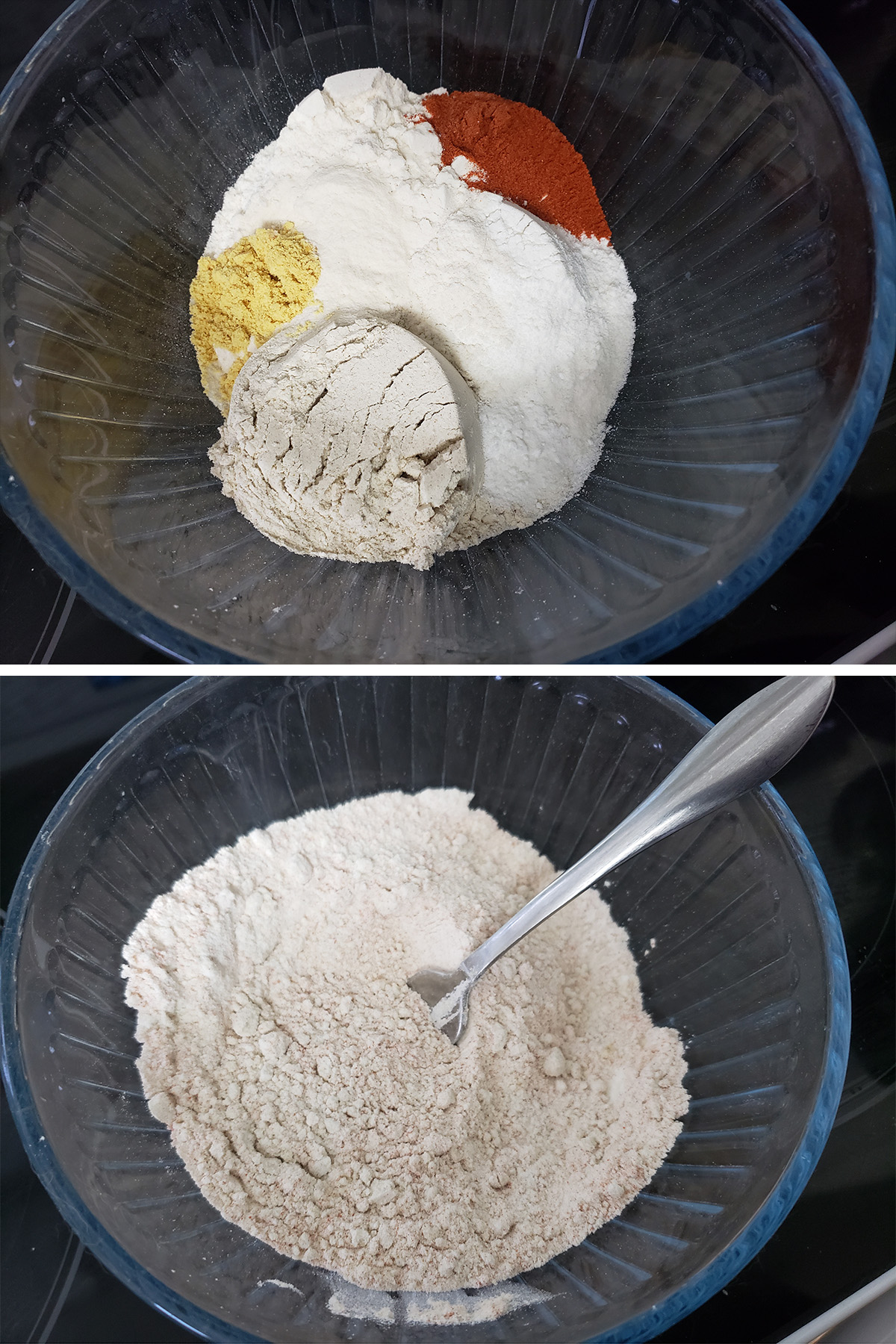 A two part compilation image showing dry ingredients measured into a bowl, and mixed.