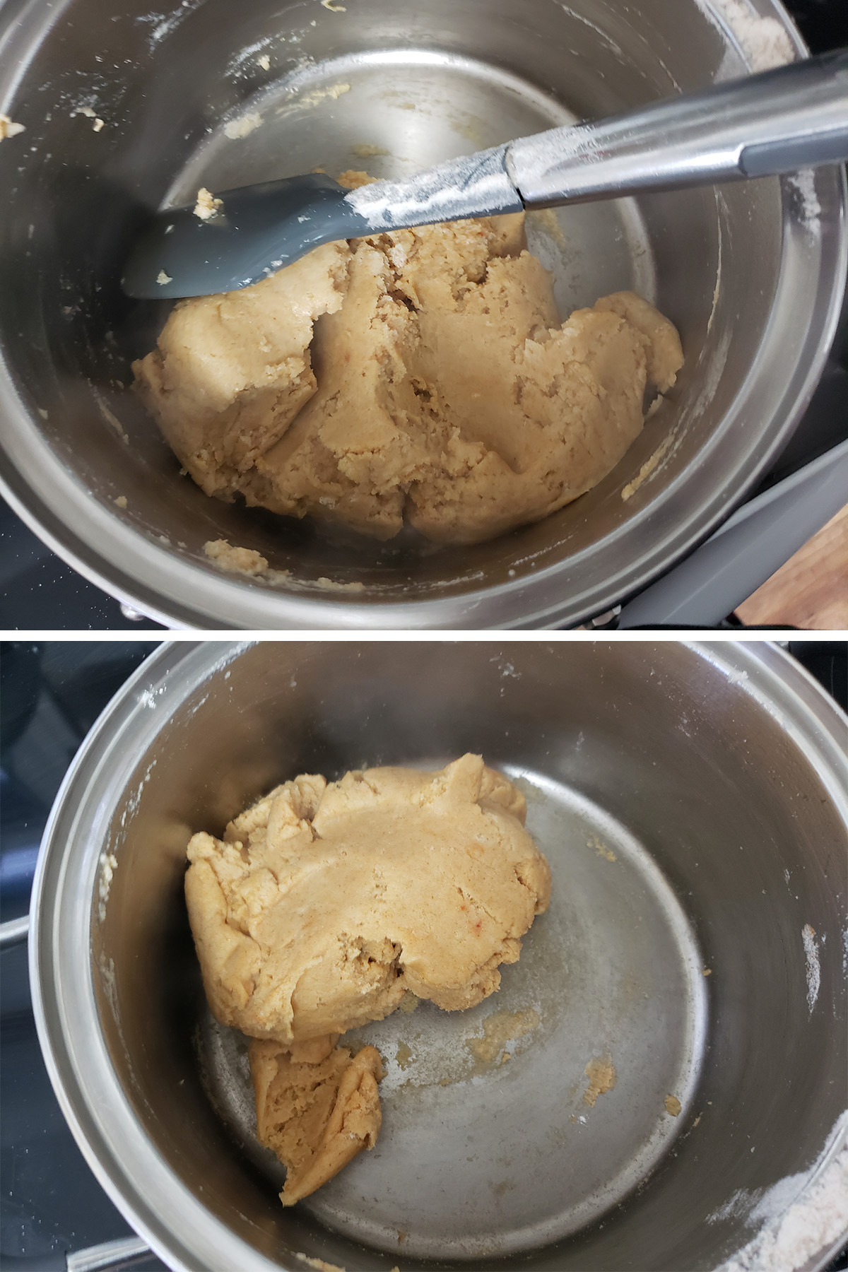 A two part compilation image showing the dough being stirred in the pot.