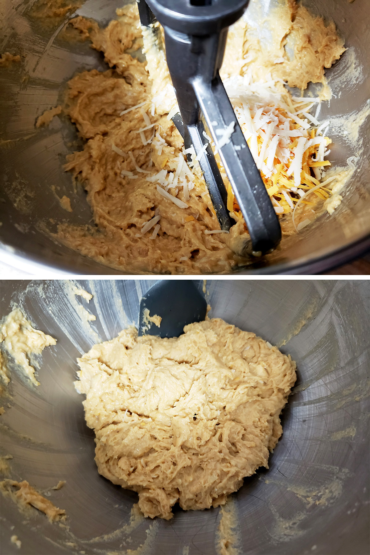 A two part compilation image showing cheese being added to the dough and mixed in.
