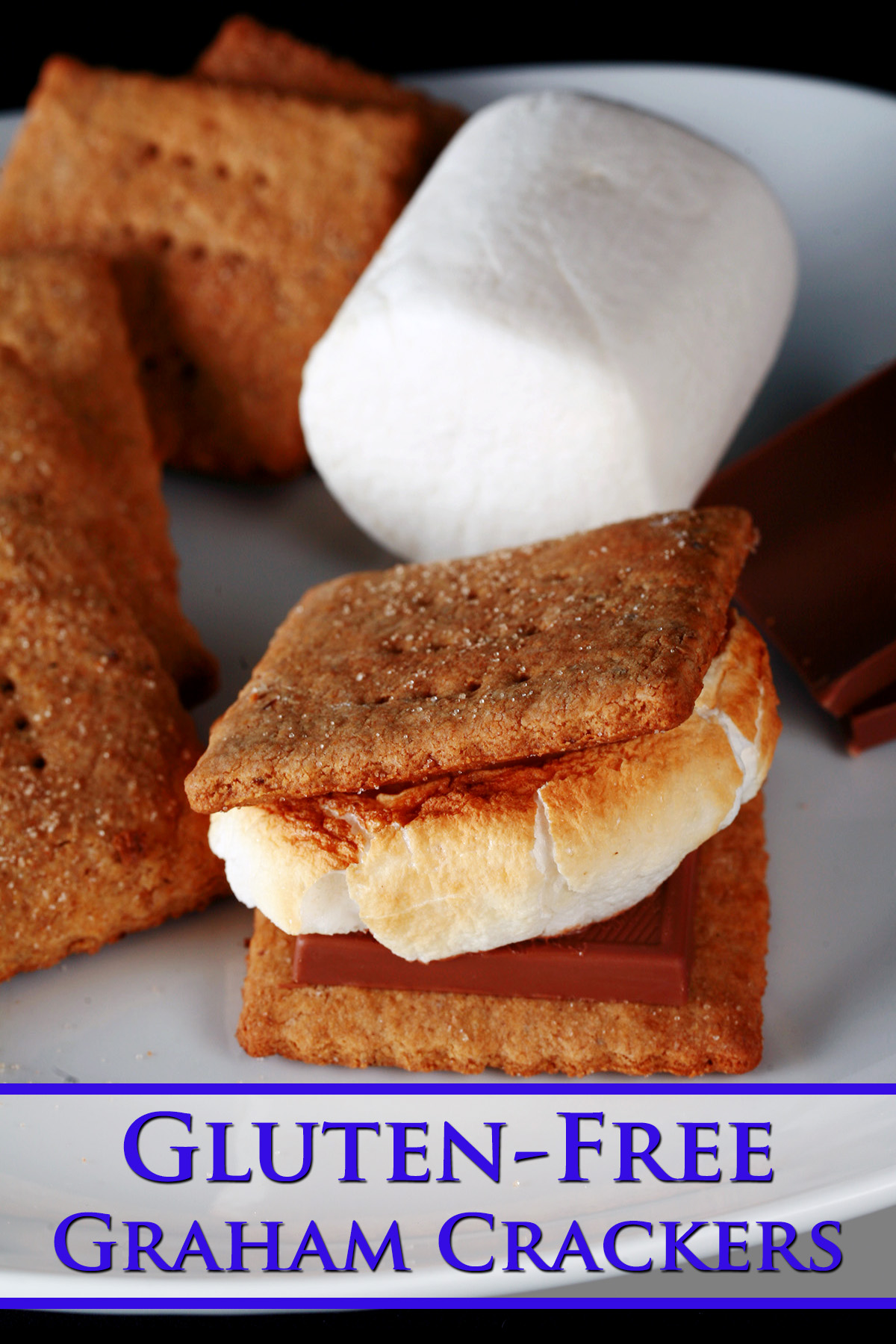 A white plate with rows of square shaped gluten-free graham crackers, a couple large marshmallows, and a piece of chocolate. Two crackers,a  piece of chocolate, and a toasted marshmallow have been assembled into a S'more also on the place.