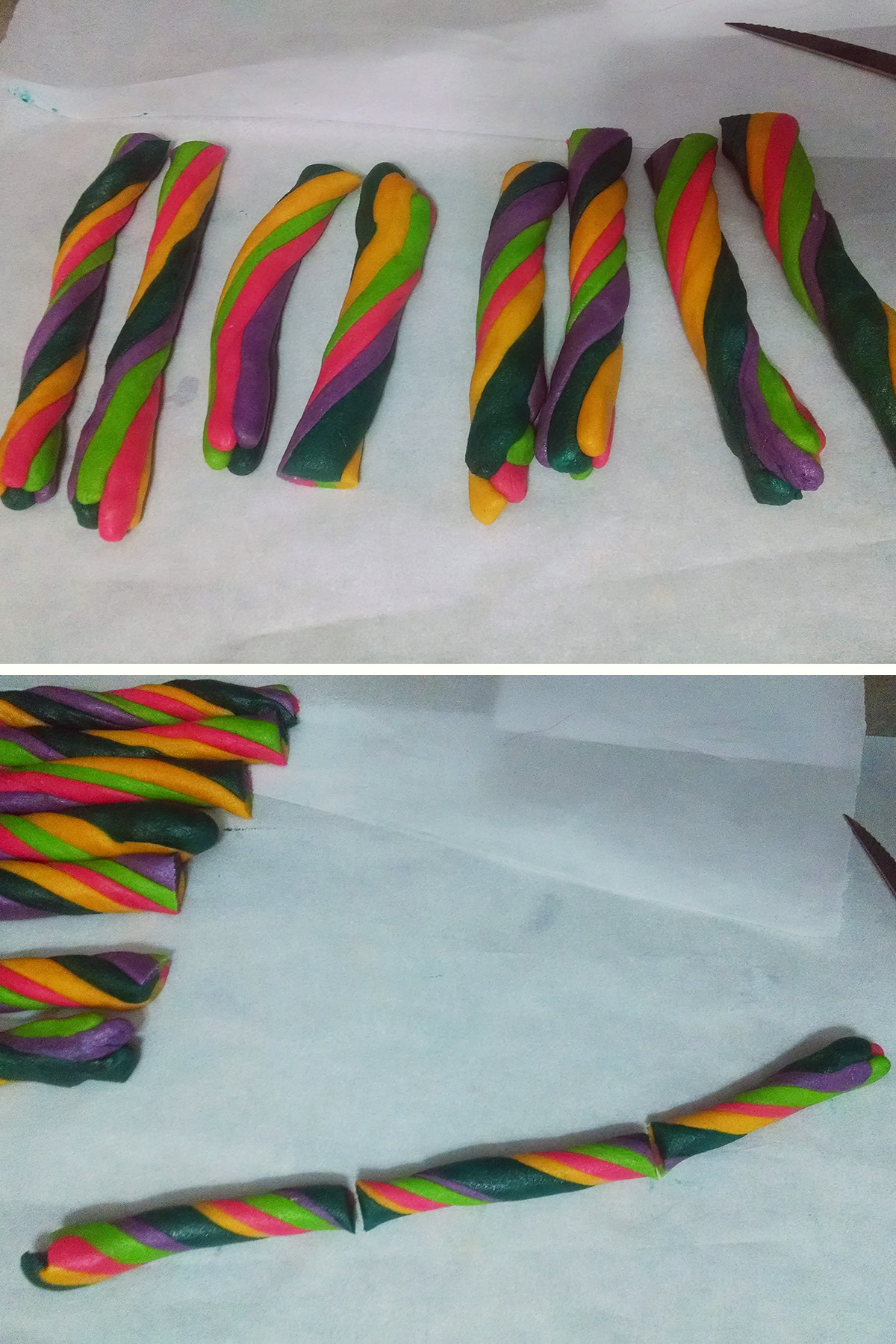 A two part compilation image showing 4 logs of brightly coloured twisted cookie dough on top, then one long, thinner, extra twisted piece on the bottom image.