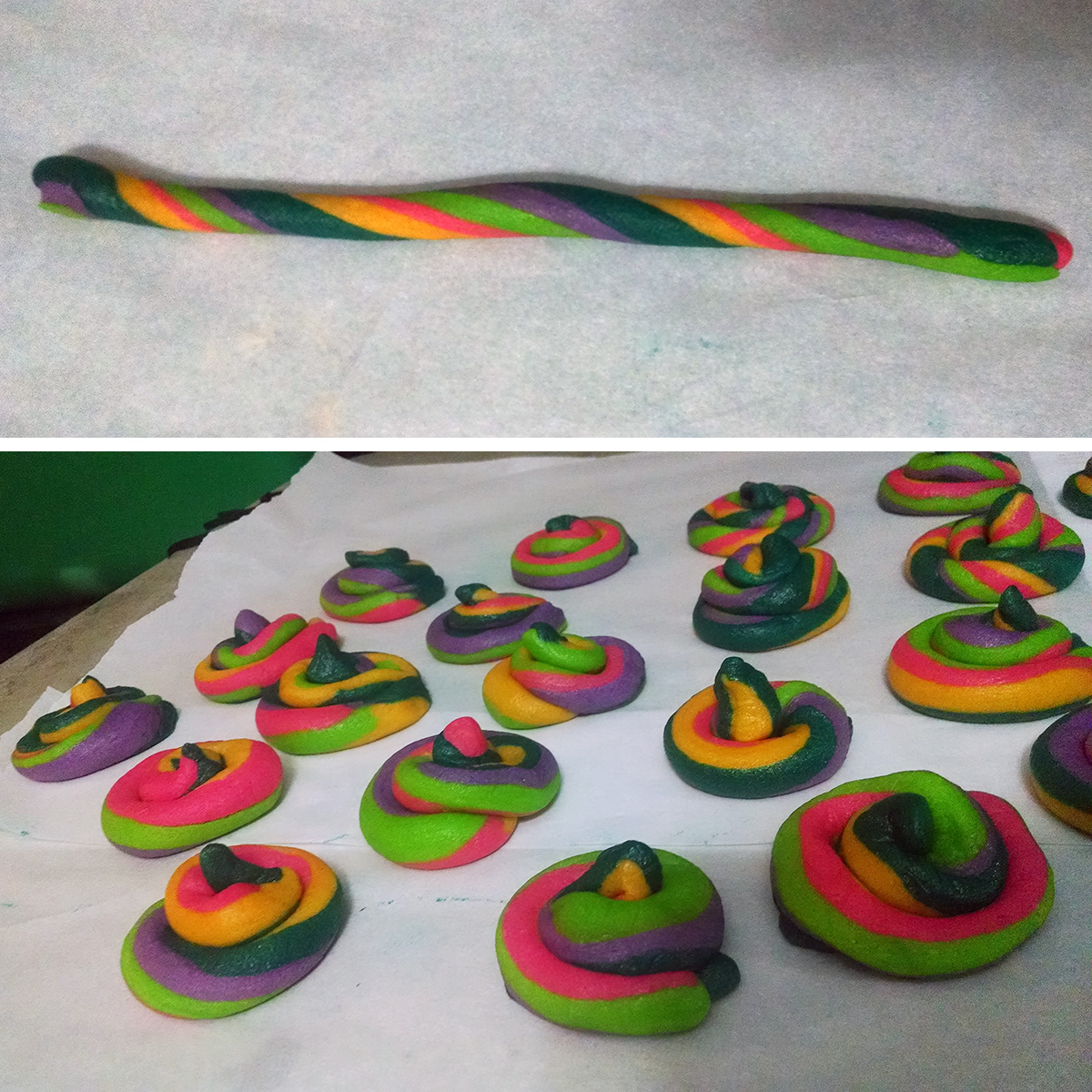 """A two part compilation image showing one long rope of twisted, brightly coloured cookie dough on top, then a tray of formed """"unicorn poop"""" cookies on the bottom image."""