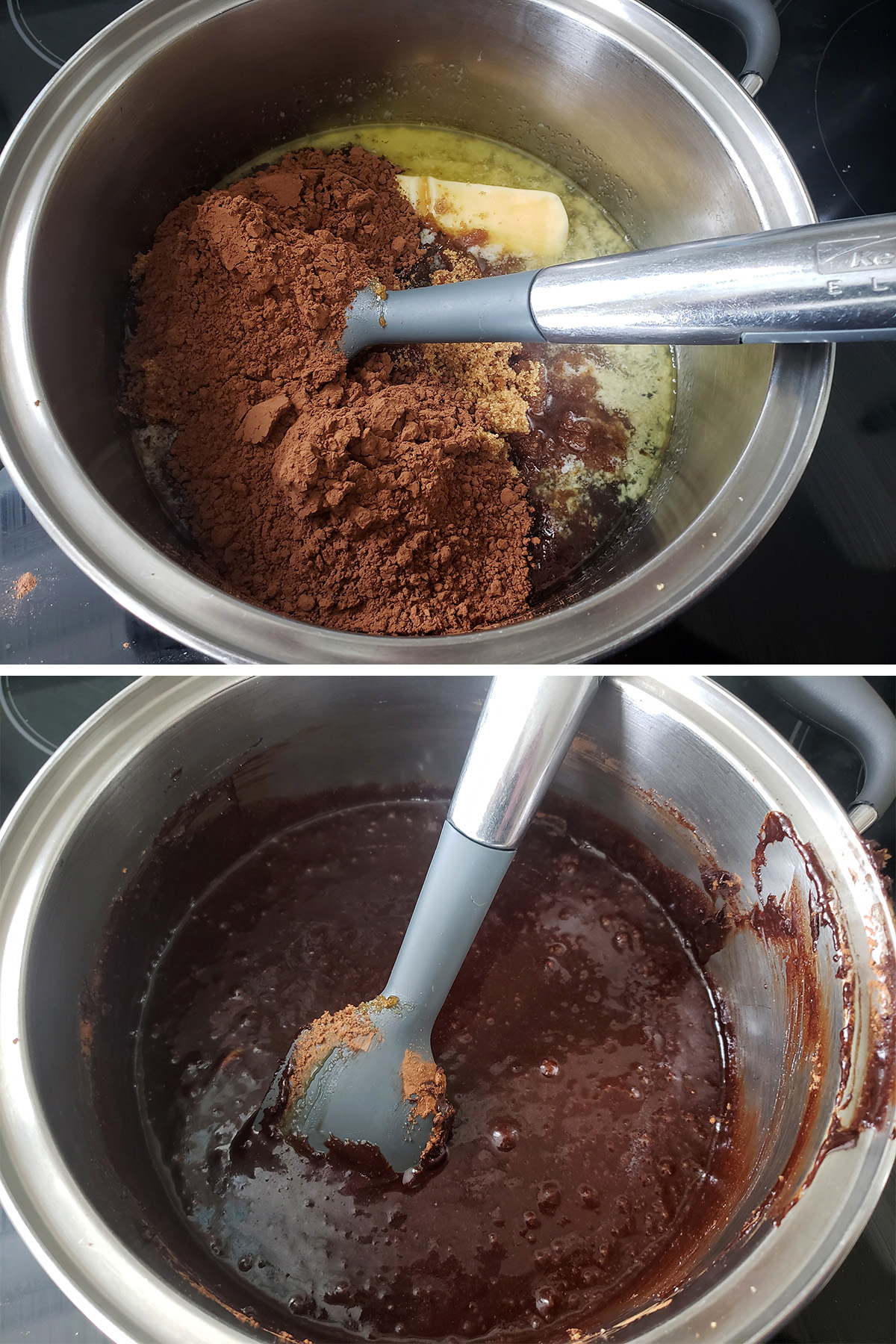 A two part image showing butter and syrup in a saucepan, then cocoa being mixed in.
