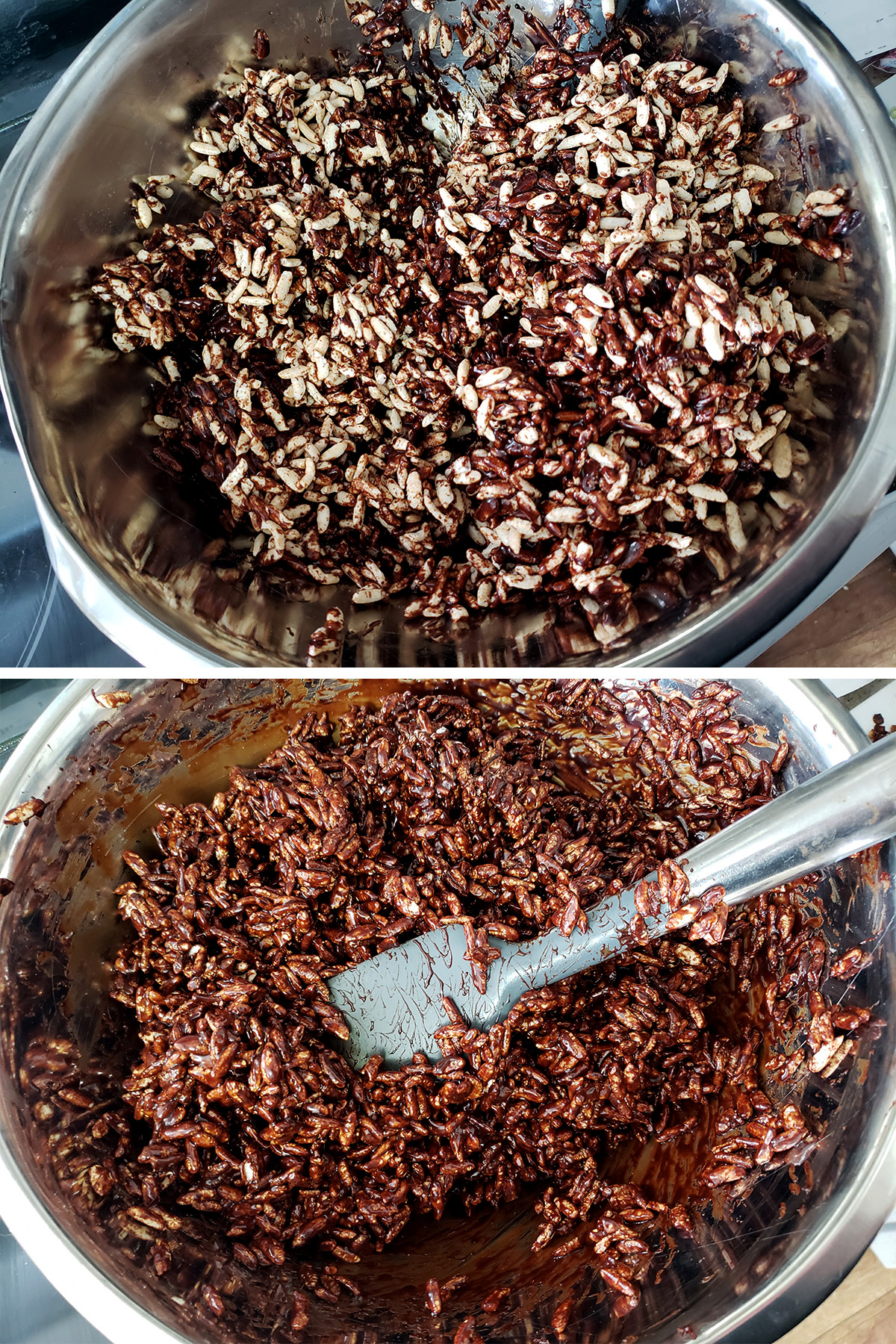 A two part image showing the chocolate caramel being mixed in with the cereal. In the first image, the caramel is only partially mixed in. In the second, it coats all the cereal.