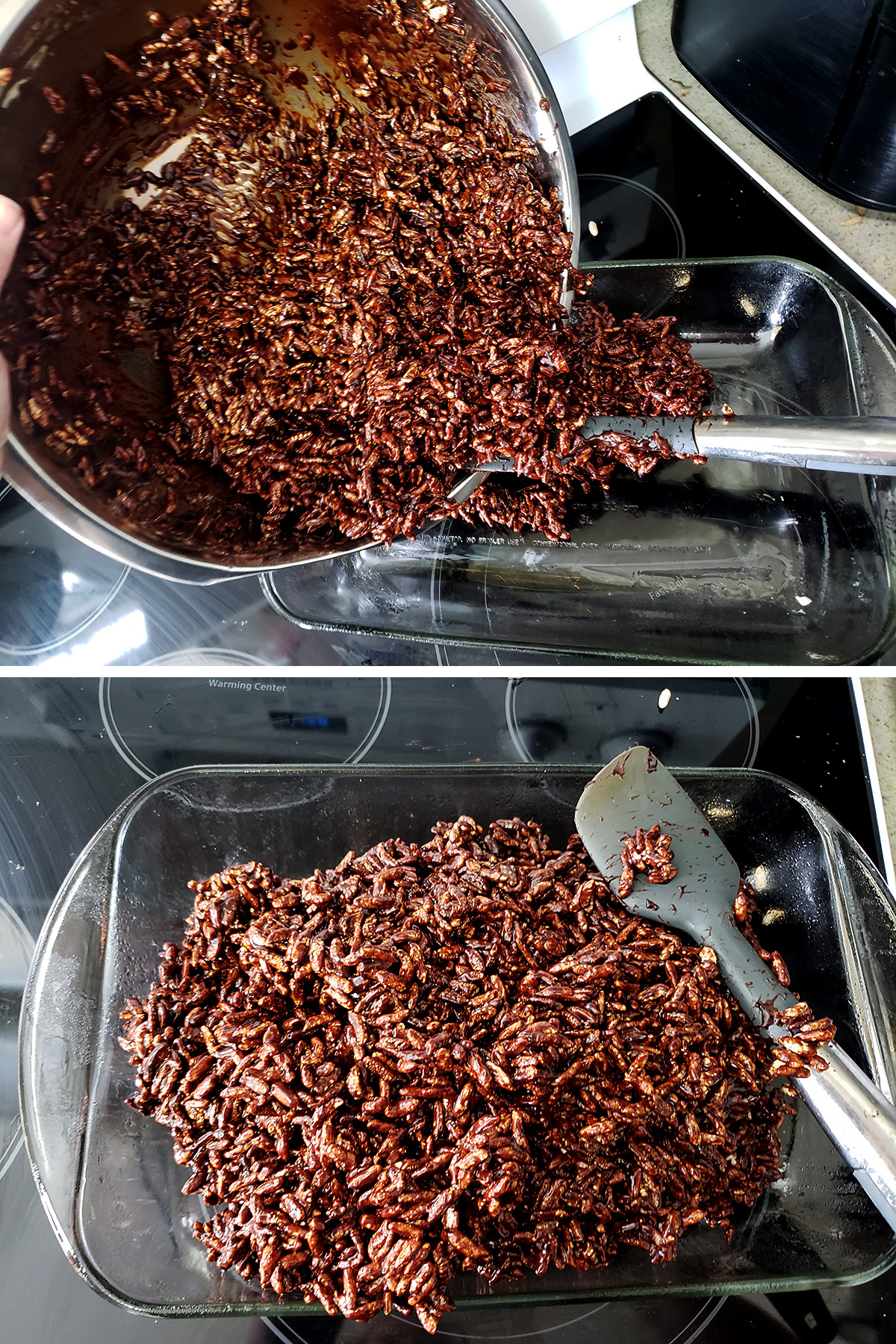 A two part image showing the chocolate cereal mixture being poured into a glass baking dish, and it being spread around the fish.