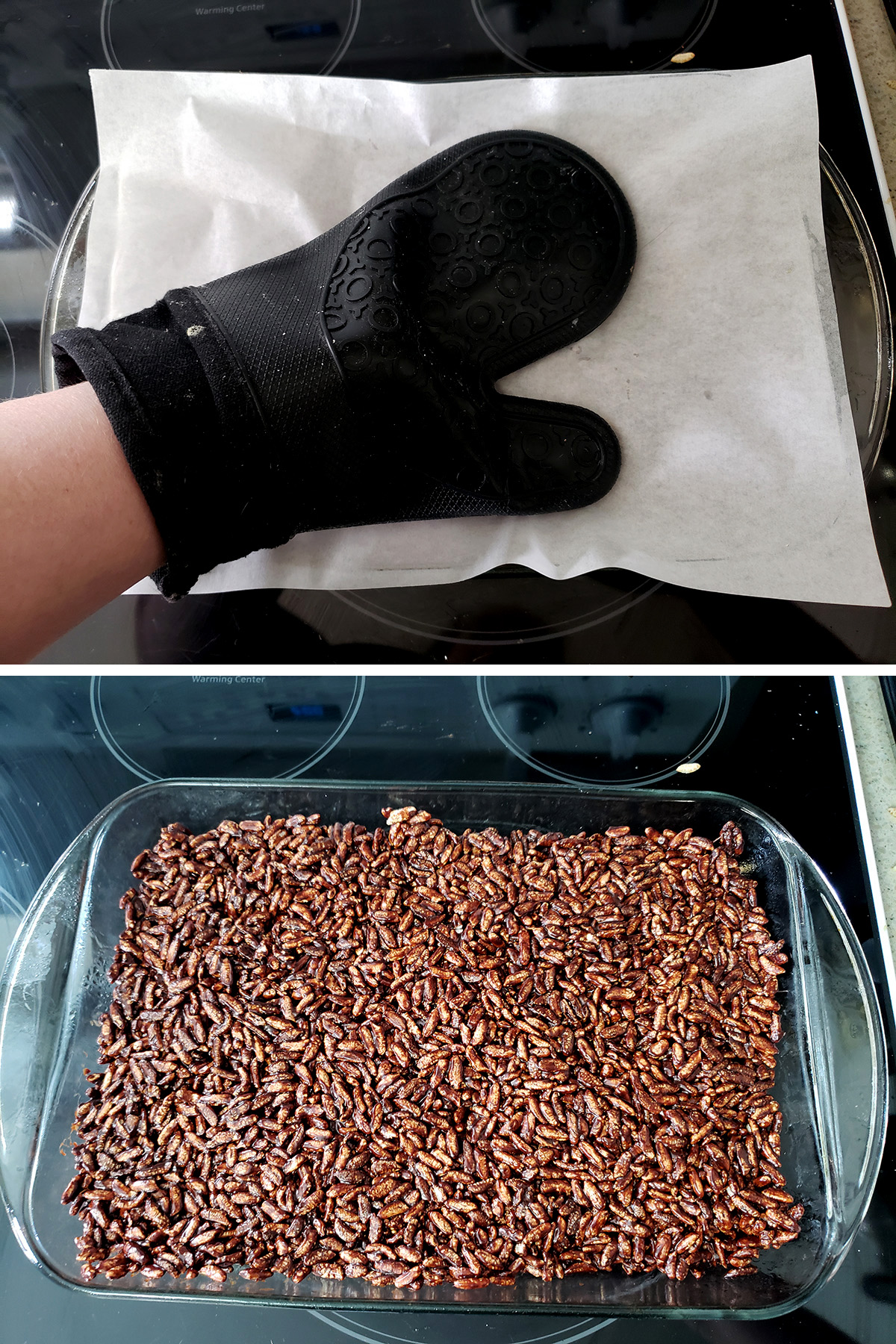 A two part image showing an oven glove and a sheet of parchment being used to flatten the bars, and the bars in the pan, nicely smoothed out.