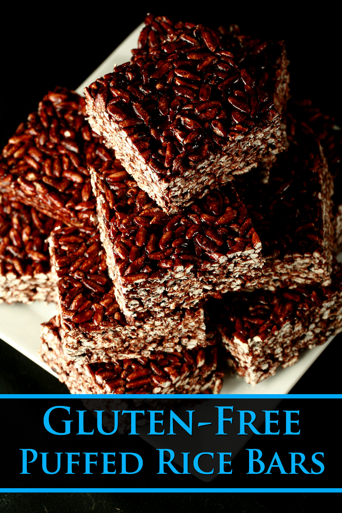 Gluten-Free Puffed Rice Bars, on a white square plate.