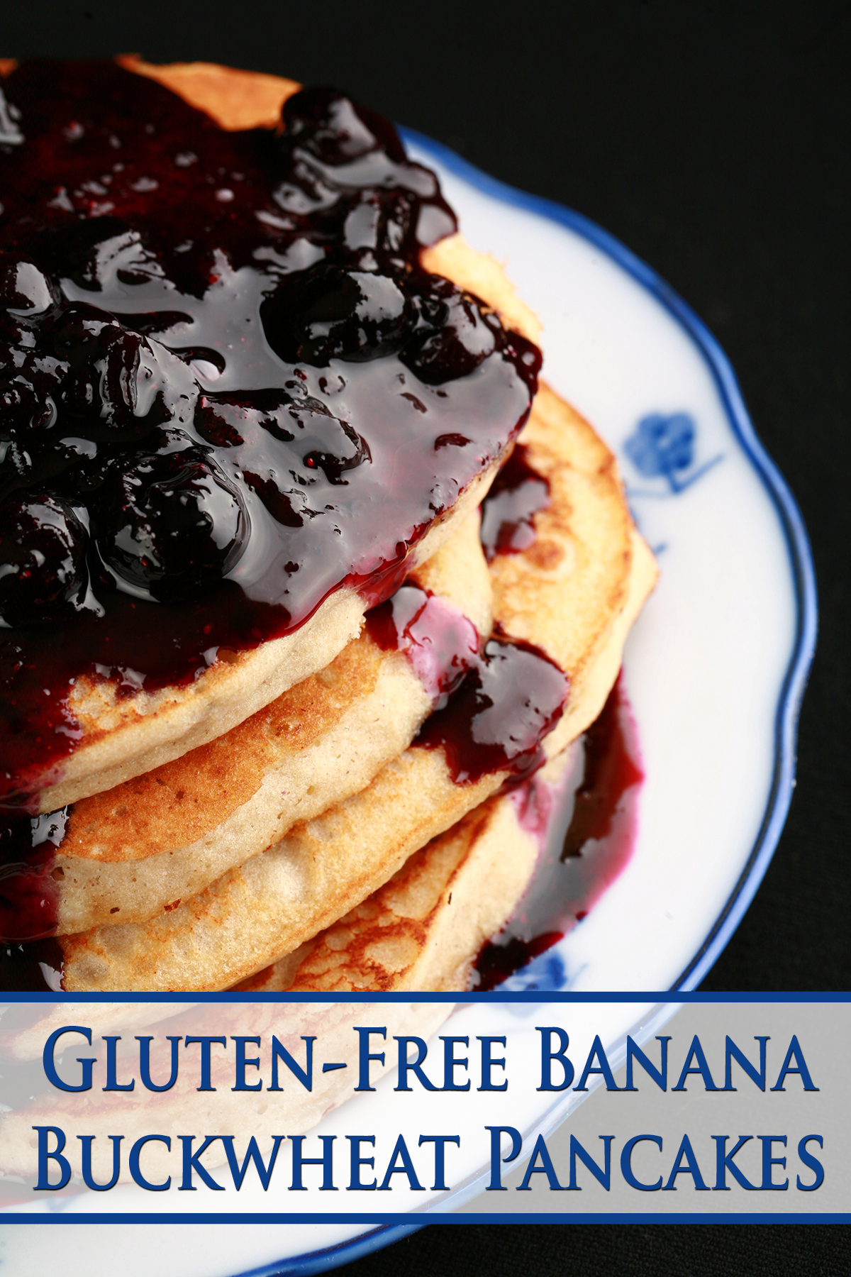 A stack of gluten-free banana buckwheat pancakes on a plate. It is topped with fresh blueberry sauce.