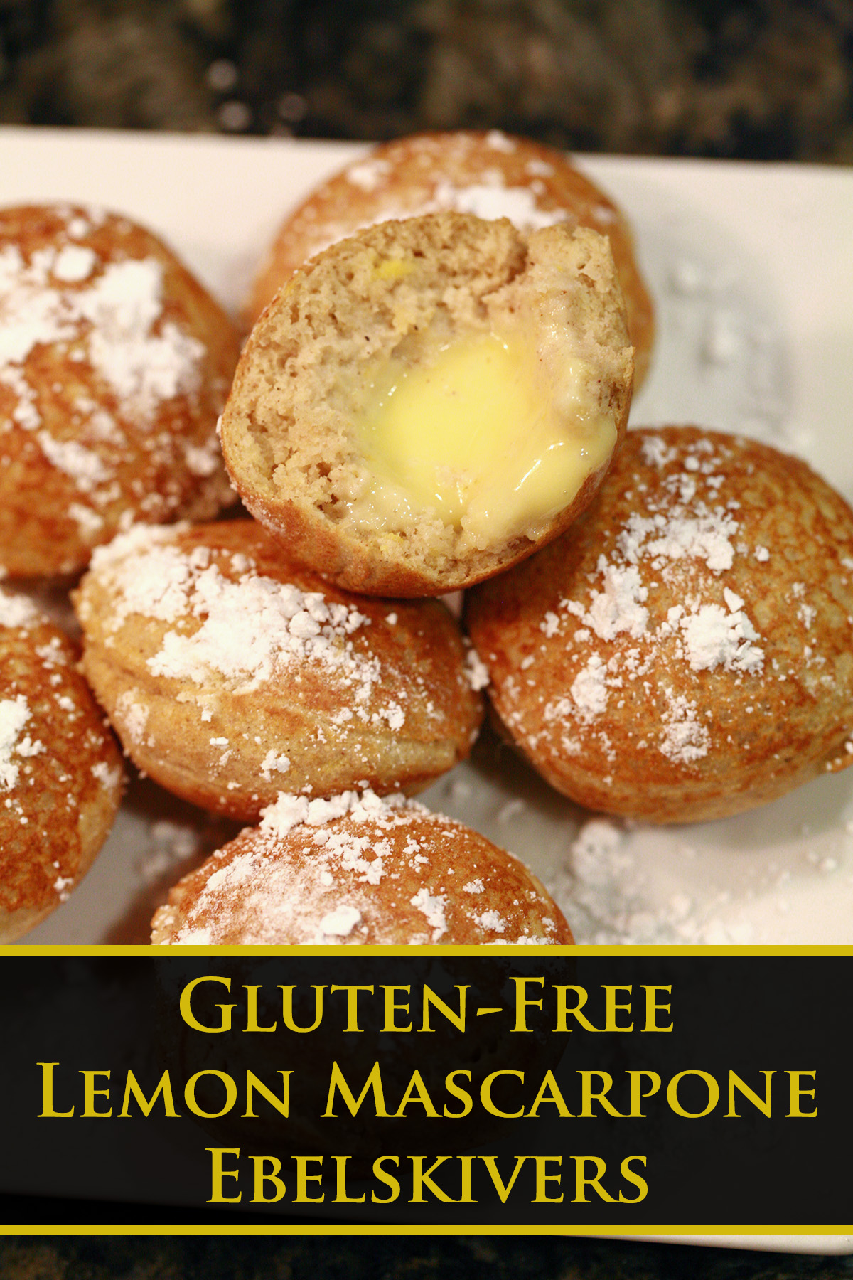 Several gluten-free lemon mascarpone ebelskivers - bite sized stuffed pancakes - on a plate.  They're dusted with powdered sugar.