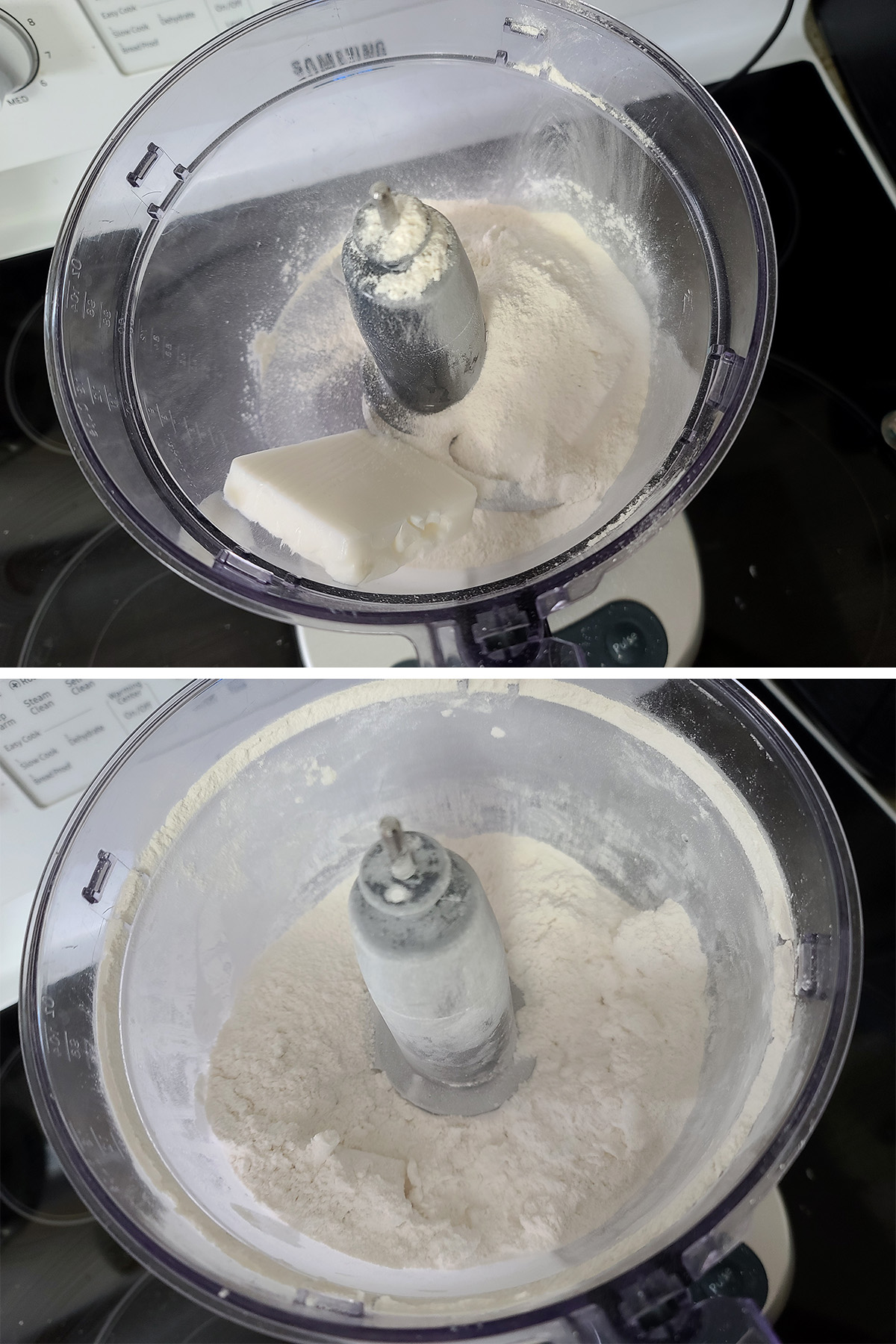 Lard is added to a food processor with cassava flour in it, then shown as a gravel-looking mixture.