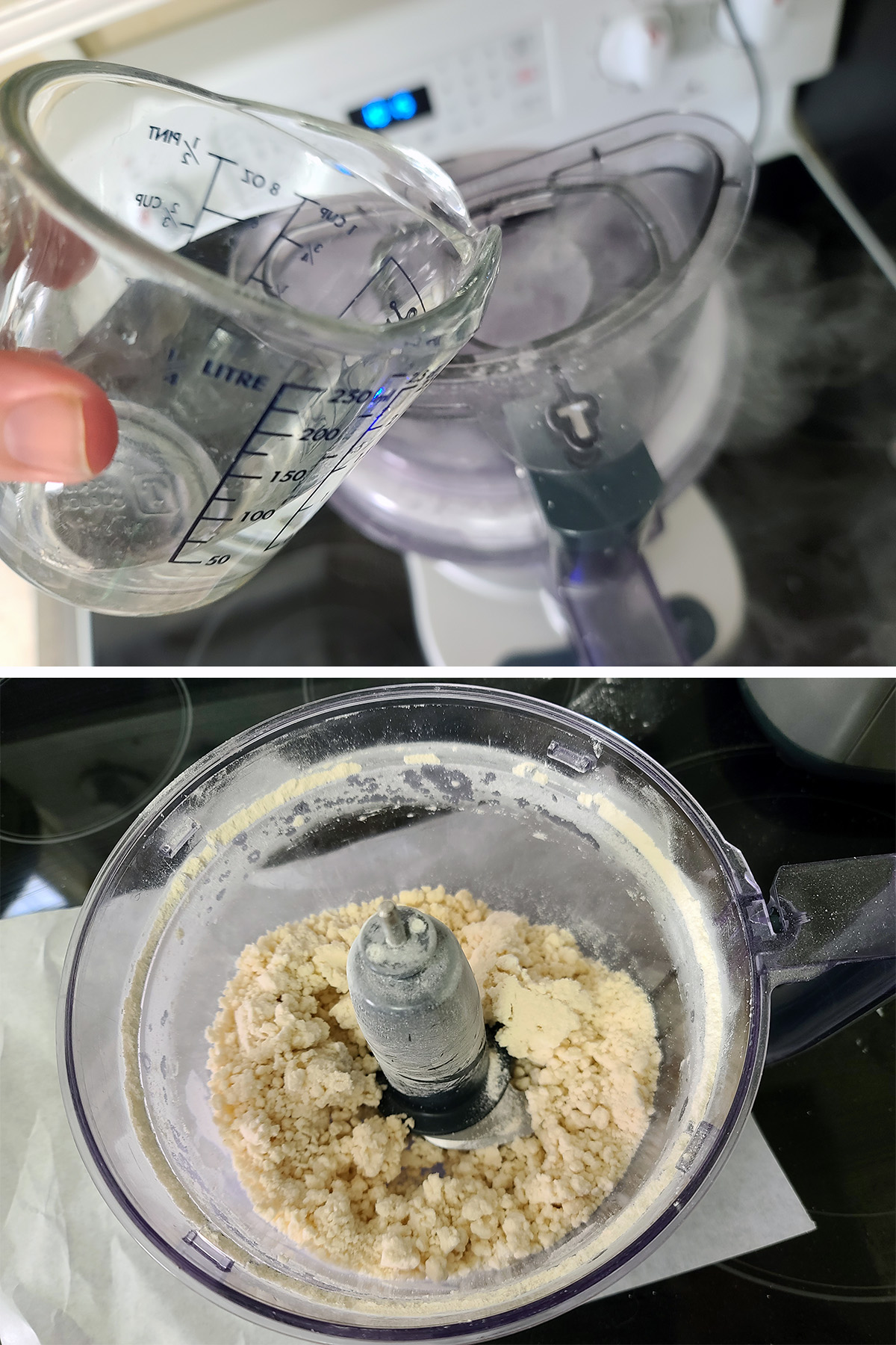 Water is being added to a food processor with lard and cassava flour in it.