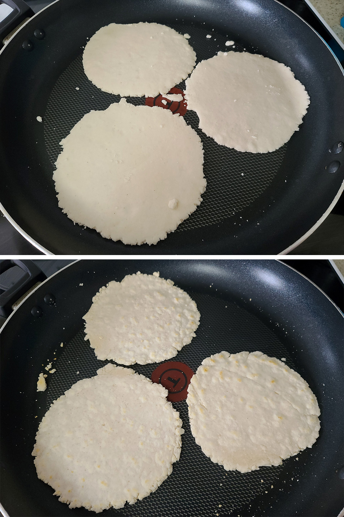 A two part image showing cassava flour tortillas being cooked in a pan.